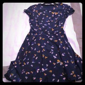 Women's navy blue short sleeve flowy dress